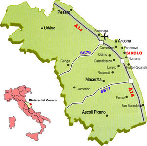 Cartina Marche Numana.B B La Ginestra Sirolo An